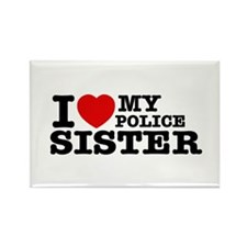 I love My Police Sister Rectangle Magnet