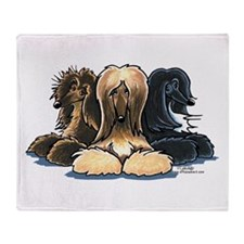 3 Afghan Hounds Throw Blanket