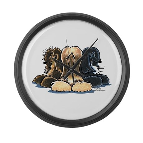 3 Afghan Hounds Large Wall Clock