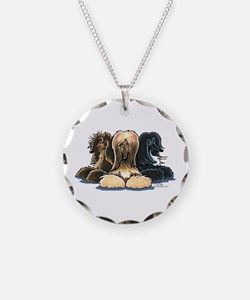 3 Afghan Hounds Necklace