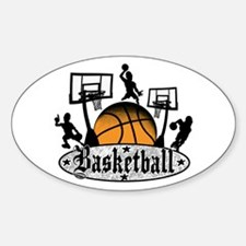 Basketball Action Sticker (Oval)