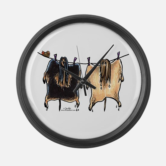 Line Dry Afghans Large Wall Clock