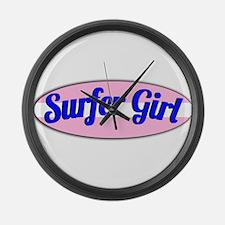 Surfer Girl Large Wall Clock