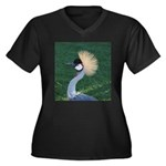 Crowned Crane Women's Plus Size V-Neck Dark T-Shir