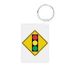 Signal Ahead Caution Sign Keychains