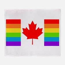 Canadian Gay Pride Flag Throw Blanket