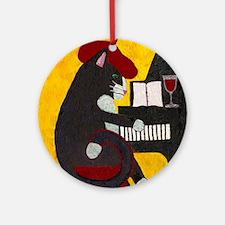 Tuxedo Cat and Piano Ornament (Round)