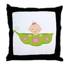 Baby Girl Pea Pod Boat Throw Pillow