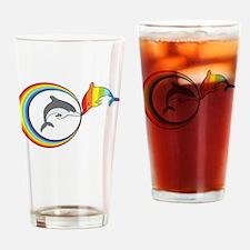 Rainbow Dolphin Drinking Glass