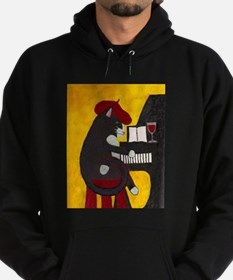 Tuxedo Cat and Piano Hoodie (dark)