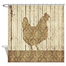 Damask Rooster Shower Curtain