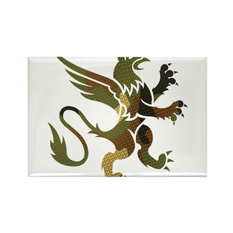Green Camo Gryphon Rectangle Magnet