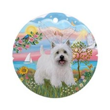 AngelStar-Westie5 Ornament (Round)