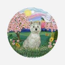 Blossoms-Westie#8 Ornament (Round)