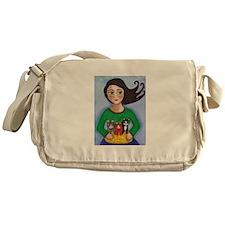 Girl Holding Basket of Kittens Messenger Bag