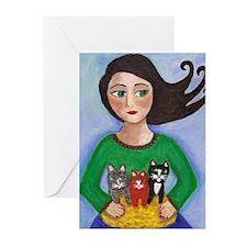 Girl Holding Basket of Kittens Greeting Cards (Pk