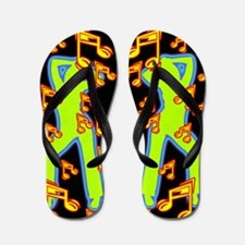 Neon Retro Dance Music Flip Flops