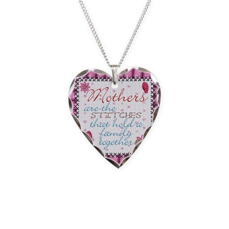 Mothers Day Stiches Necklace Heart Charm