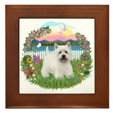 Garden-Shore-Westie#5 Framed Tile