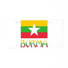 Burma Flag & Word Aluminum License Plate