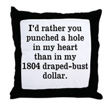 Hole in Heart Throw Pillow