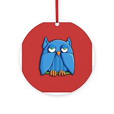 Aqua Owl red Ornament (Round)