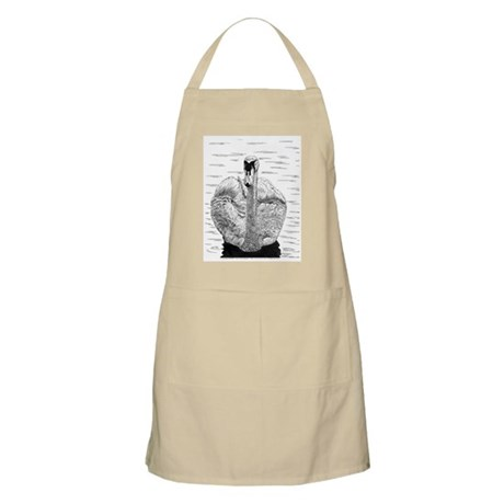 Swan Pen and Ink White BBQ Apron