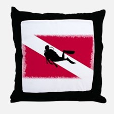 Scuba Diver & Flag Throw Pillow