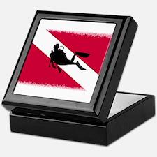 Scuba Diver & Flag Keepsake Box