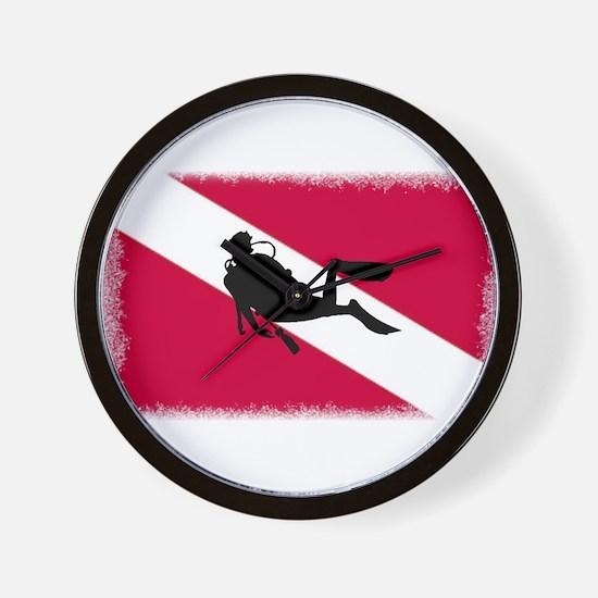 Scuba Diver & Flag Wall Clock