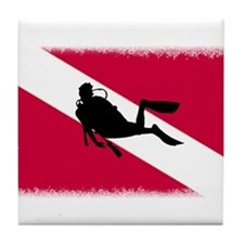 Scuba Diver & Flag Tile Coaster