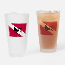Scuba Diver & Flag Drinking Glass