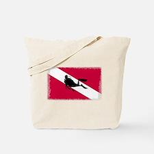 Scuba Diver & Flag Tote Bag