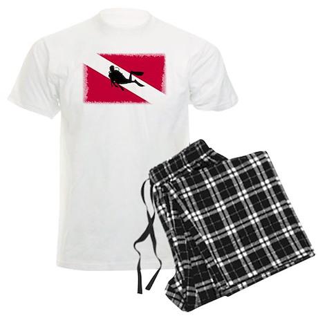 Scuba Diver & Flag Men's Light Pajamas