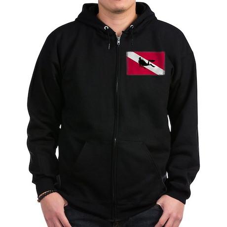 Scuba Diver & Flag Zip Hoodie (dark)