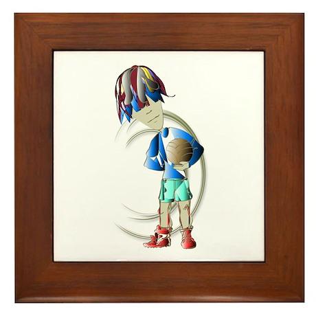 Footballer Digital Art Framed Tile