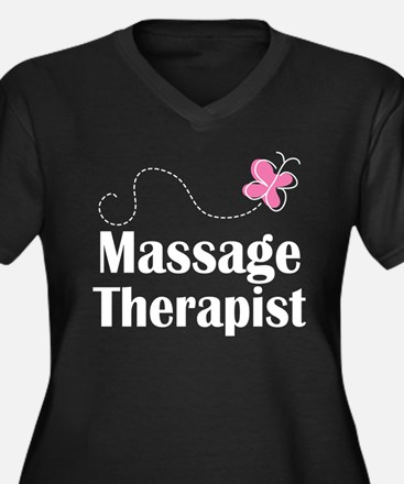 Massage Therapist Women's Plus Size V-Neck Dark T-