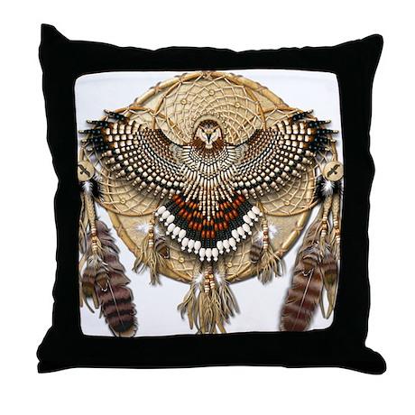 Red-Tail Hawk Dreamcatcher Throw Pillow