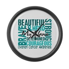 Tribute Square Ovarian Cancer Large Wall Clock