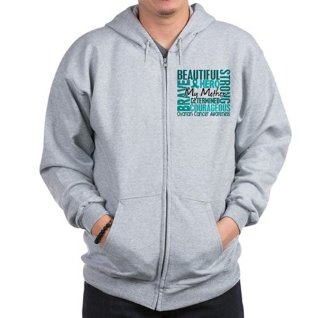 Tribute Square Ovarian Cancer Zip Hoodie