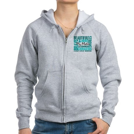 Tribute Square Ovarian Cancer Women's Zip Hoodie