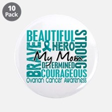 "Tribute Square Ovarian Cancer 3.5"" Button (10 pack"