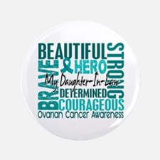 "Tribute Square Ovarian Cancer 3.5"" Button"