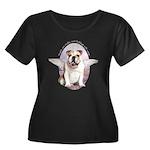 Bulldog Angel Women's Plus Size Scoop Neck Dark T-