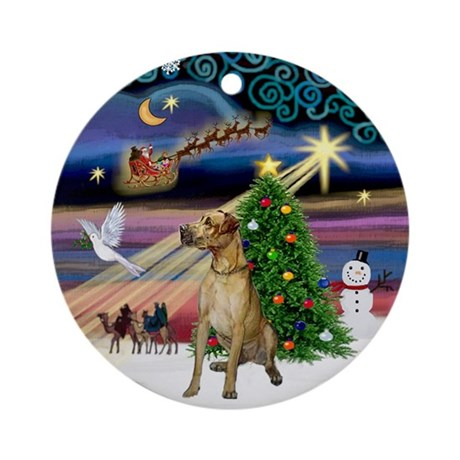 Christmas Magic fawn Great Dane Ornament (Round)