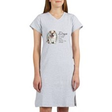 Dogs Make Lives Whole -Bulldog Women's Nightshirt