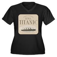 RMS TItanic Women's Plus Size V-Neck Dark T-Shirt