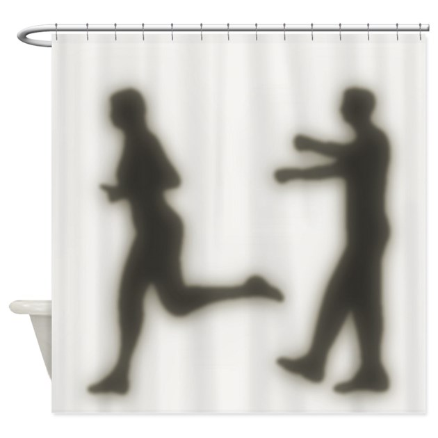 Zombie attack shower curtain by retroranger for Zombie bathroom decor