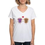 Peanut Butter Loves Jelly Women's V-Neck T-Shirt