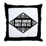 North Carolina Girls Kick Ass Throw Pillow